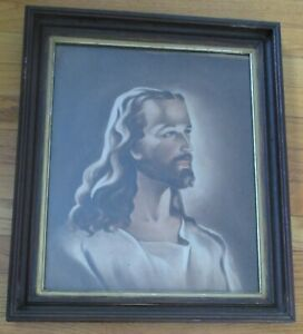 LARGE Jesus Head Of Christ Printed Cloth Picture Glass VTG Antique Frame