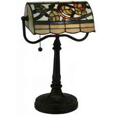 Vineyard Banker's Desk Reading Lamp Tiffany Style Stained Glass 15in Tall