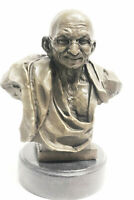 INTERESTING LATE 20TH CENTURY WELL CAST SIGNED BRONZE STUDY OF GANDHI STATUE ART