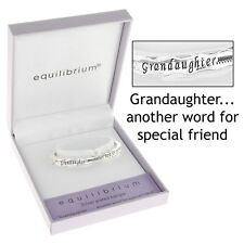 GIFT BOXED Equilibrium Silver Plated Hinged Bangle Granddaughter Bracelet Quote