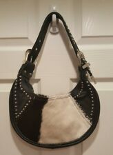 Black & White Studded Leather Calf Hair Purse by Saddle Barn Adj Buckle Strap
