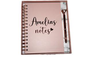 Beautiful Personalised A5 Pink Hardback Spiral Notebook Diamond Pen Gift Set