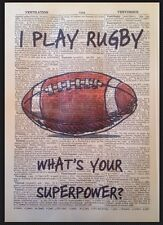 VINTAGE RUGBY QUOTE PRINT 1933 Dictionary Page Wall Art Picture Gift Sport