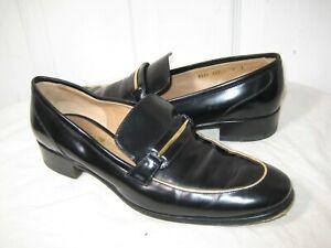 Salvatore Ferragamo Reed Black Glazed leather loafers Shoes Women's Size 8 B