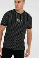 PRE LONDON Mens Designer Crew Casual Cotton Fashion Pinstripe T-Shirt Tee Top