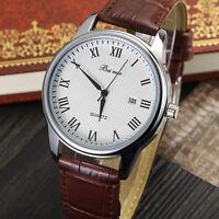 Men Date Stainless Steel Leather Black Dial Analog Quartz Sport Wrist Watch Gift