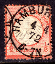 GERMANY #3 ½gr RED ORANGE, 1872 EMBOSSED, F, CDS
