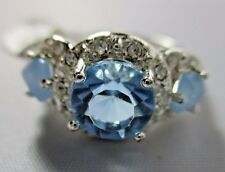 Ring Brilliant Blue Topaz Cubic Zirconia with Gem Stone Accents Size 6.5 NWT T36