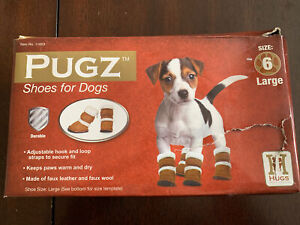 Pugz Shoes For Dogs Sz 6 Large Faux Leather NIB By Hugs Pet Products