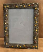 "Jewel scroll work table top picture photo frame 4.5 x 6.5"" leaf vine vertical"