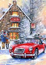 Large Christmas Card MG MGA Red Lion Pub House snow scene British Sports Car