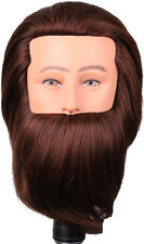 "Lian's 7-8""100% Human Hair Male Cosmetology Mannequin Manikin Head with Beard"