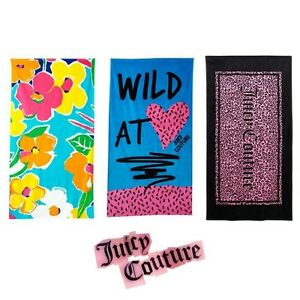 JUICY COUTURE Large Beach Towel Bath Pool Bright Fashion Supersoft Velour