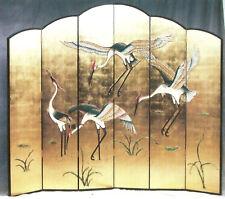 Chinesischer Paravent, 6 Elemente a  41 x 214 cm, goldfarbener Hintergrund mit V