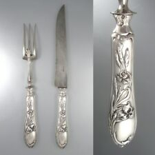 Antique French Art Nouveau Sterling Silver Carving Set, Iris Pattern, Hallmark