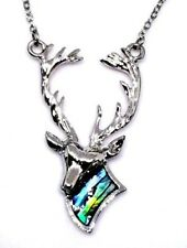 Stag Pendant Abalone Paua Shell Silver Plt Chain Necklace Tide Jewellery Boxed