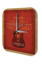 "Nostalgic Wall Clock Guitar Nashville Tennessee printed acryl plexiglass 10x10"""