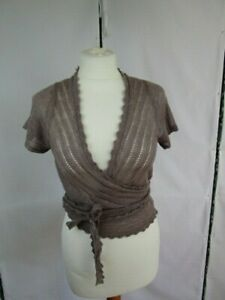 Bohemia Crossover knitted cappedsleeve top.Mauve Linen Summer coverup UK 8/10/12