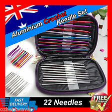 Crochet Hooks Set 22pcs Multicolour Aluminum Knit Knitting Needles Weave Craft