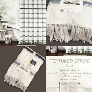 "New LUSH DECOR -  TEXTURED STRIPE - Shower Curtain 72x72"" Blues"