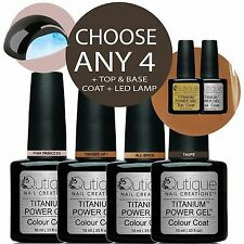 QUTIQUE Gel Nail Polish Colour Kit/Set + LED Lamp-ANY 4 Colours -Pro Quality