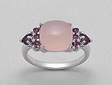 Solid Sterling Silver Pink Quartz Rhodonite Garnet Ring sz 9.5