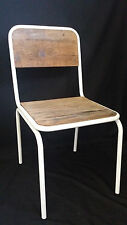 NEW FRENCH INDUSTRIAL RETRO VINTAGE METAL WOODEN SCHOOL DINING CHAIR