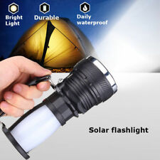 Solar Rechargeable LED Flashlight Hiking Camping Tent Lights Lantern Lamp New