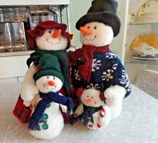 "Very Cute.Handmade Christmas ""Snowman Family"" Bean Bag Bottom Fleece Figures"