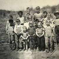 County School Class Picture Photograph Picture Vintage 1940's Kids Wear Overalls