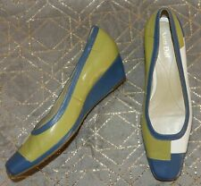 Van Dal Blue, Lime & White Leather Chisel Toe Wedge Heel Court Shoes - Size UK 8