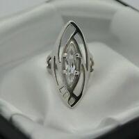 925 Sterling Silver Marquise Shape White Stone Set Cocktail Ring ~ Size L ~