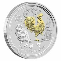 2017 Australia Lunar Year of the Rooster GILDED 1oz SIlver $1 Coin w/ OGP Gilt