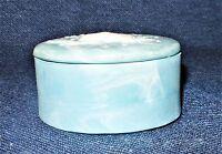 Vintage Blue & White Alabaster Soapstone Seashell Design Lidded Trinket Box EUC