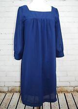 NEW! H&M Chiffon Sheer Overlay Layer Shift Dress - Navy Blue - Size 12