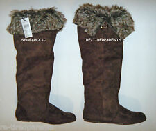 BOOTS – FASHION - KNEE-HIGH - BROWN - TEXTILE SUEDE -  FUR – SIZE 6 – NWT $45