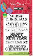 HERO ARTS Clear Stamps GREETINGS FOR THE HOLIDAYS # CL619 Poly  CHRISTMAS MERRY