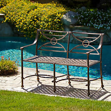 Outdoor Garden Patio Cast Aluminum Victorian French Seating Park Bench Antique