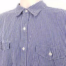 HURLEY Shirt Men's Size Extra Large XL Blue White Plaid Checks Long Sleeve
