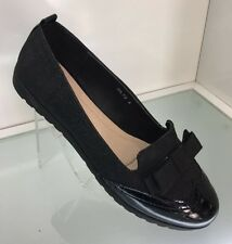 LADIES WOMENS BLACK GLITTER LOAFERS PUMPS COMFORT COURT SHOES FLAT HEEL SIZE 8