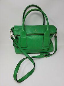 Vintage Kate Spade Large Satchel Crossbody Green Leather