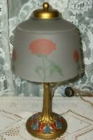 ANTIQUE POLYCHROME LAMP ART DECO 1920's HP POPPIES REVERSE GLASS SHADE STUNNING