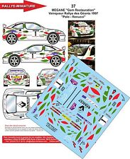 DECALS 1/18 REF 37 RENAULT MEGANE MAXI KIT CAR POLO RALLYE DES GEANTS 1997