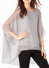 "PHASE ocho ""Layla"" de gran tamaño Blusa de seda en gris plata * XS/Reino Unido 6-8 * BNWT * £ 75 *"