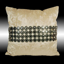 SHINY CIRCLES SILVER BEIGE THICK SOFT VELVET THROW PILLOW CASE CUSHION COVER 17""