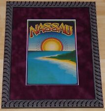 GARY GRIMSHAW NASSAU BAHAMAS VINTAGE 1970s FRAMED TRAVEL POSTER PRINT