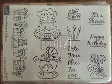 Stampin' Up SOMETHING TO CELEBRATE Set of 9 Stamps 2004 Gifts Birthday Cake Baby