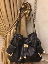 MICHAEL KORS Black Smooth Leather Hobo Shoulder Bag w/ Gold Hardware & Dust Bag