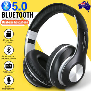 NEW Wireless Headphones Bluetooth Earphones Headset Rechargeable with Mic AU