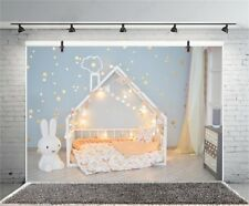 8X6' Baby Room Light String Decor Baby Bed Photography Background Vinyl Backdrop
